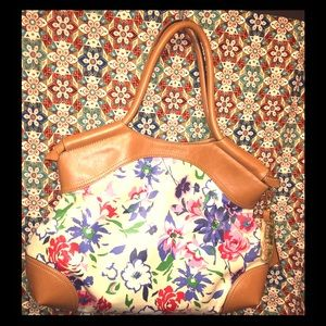 Emma & Sophia's Coated Canvas Floral Bag w PU Trim